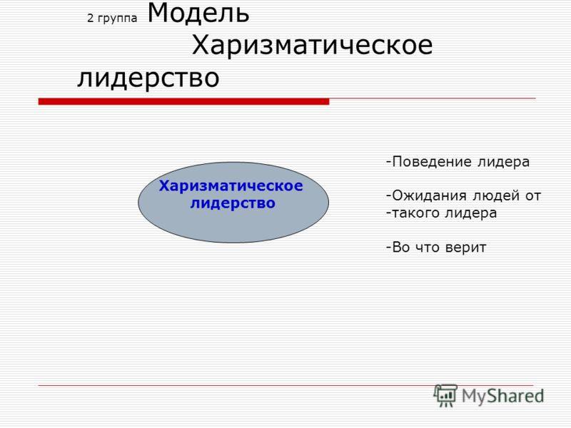 2 группа Модель Харизматическое лидерство -Поведение лидера -Ожидания людей от -такого лидера -Во что верит Харизматическое лидерство