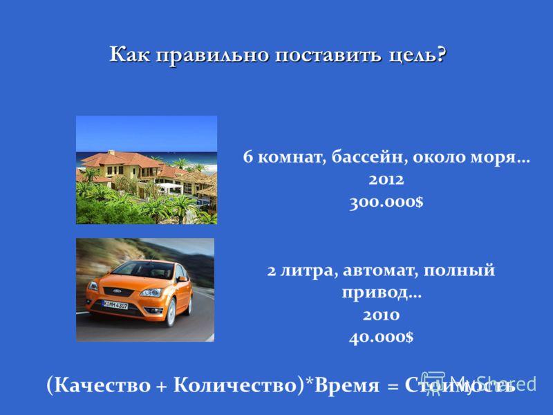 Как правильно поставить цель? (Качество + Количество)*Время = Стоимость 6 комнат, бассейн, около моря… 2012 300.000$ 2 литра, автомат, полный привод… 2010 40.000$
