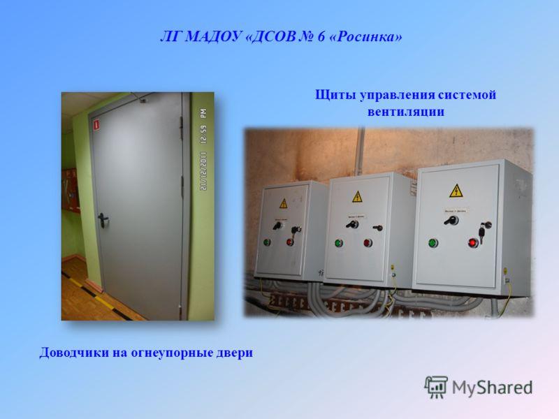 ЛГ МАДОУ «ДСОВ 6 «Росинка» Доводчики на огнеупорные двери Щиты управления системой вентиляции