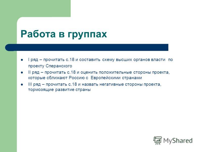 Работа в группах I ряд – прочитать с.18 и составить схему высших органов власти по проекту Сперанского II ряд – прочитать с.18 и оценить положительные стороны проекта, которые сближают Россию с Европейскими странами III ряд – прочитать с.18 и назвать