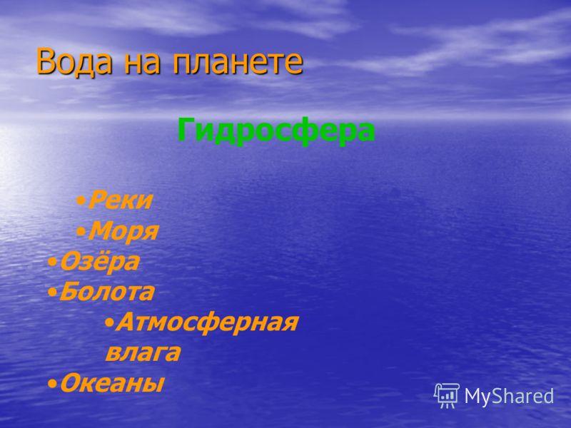 Вода на планете Гидросфера Реки Моря Озёра Болота Атмосферная влага Океаны