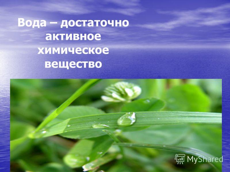 Вода – достаточно активное химическое вещество
