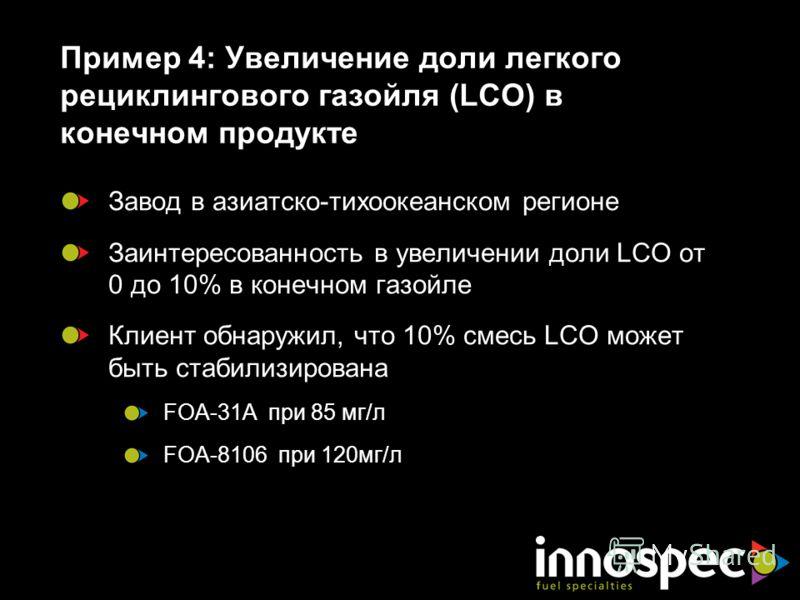 Пример 4: Увеличение доли легкого рециклингового газойля (LCO) в конечном продукте Завод в азиатско-тихоокеанском регионе Заинтересованность в увеличении доли LCO от 0 до 10% в конечном газойле Клиент обнаружил, что 10% смесь LCO может быть стабилизи
