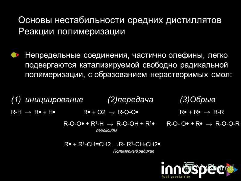 Основы нестабильности средних дистиллятов Реакции полимеризации Непредельные соединения, частично олефины, легко подвергаются катализируемой свободно радикальной полимеризации, с образованием нерастворимых смол: (1)инициирование(2)передача (3)Обрыв R