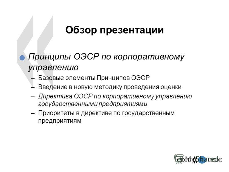 2 Обзор презентации Принципы ОЭСР по корпоративному управлению –Базовые элементы Принципов ОЭСР –Введение в новую методику проведения оценки –Директива ОЭСР по корпоративному управлению государственными предприятиями –Приоритеты в директиве по госуда