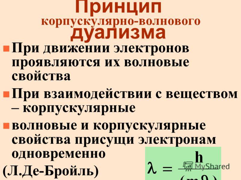 Принцип корпускулярно-волнового дуализма n При движении электронов проявляются их волновые свойства n При взаимодействии с веществом – корпускулярные n волновые и корпускулярные свойства присущи электронам одновременно (Л.Де-Бройль)