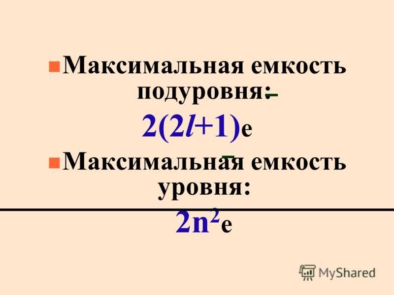 n Maксимальная емкость подуровня: 2(2l+1) e n Максимальная емкость уровня: 2n 2 е