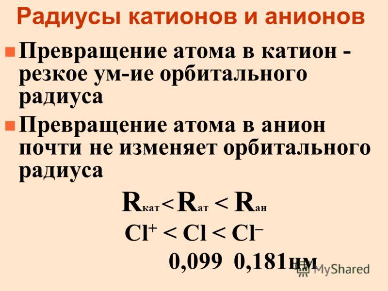 Радиусы катионов и анионов n Превращение атома в катион - резкое ум-ие орбитального радиуса n Превращение атома в анион почти не изменяет орбитального радиуса R кат < R ат < R ан Cl + < Cl < Cl – 0,099 0,181нм
