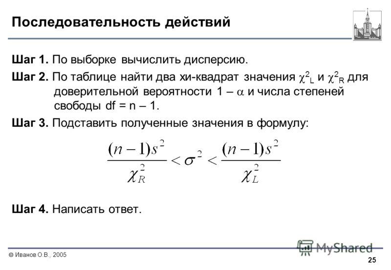 25 Иванов О.В., 2005 Последовательность действий Шаг 1. По выборке вычислить дисперсию. Шаг 2. По таблице найти два хи-квадрат значения 2 L и 2 R для доверительной вероятности 1 – и числа степеней свободы df = n – 1. Шаг 3. Подставить полученные знач