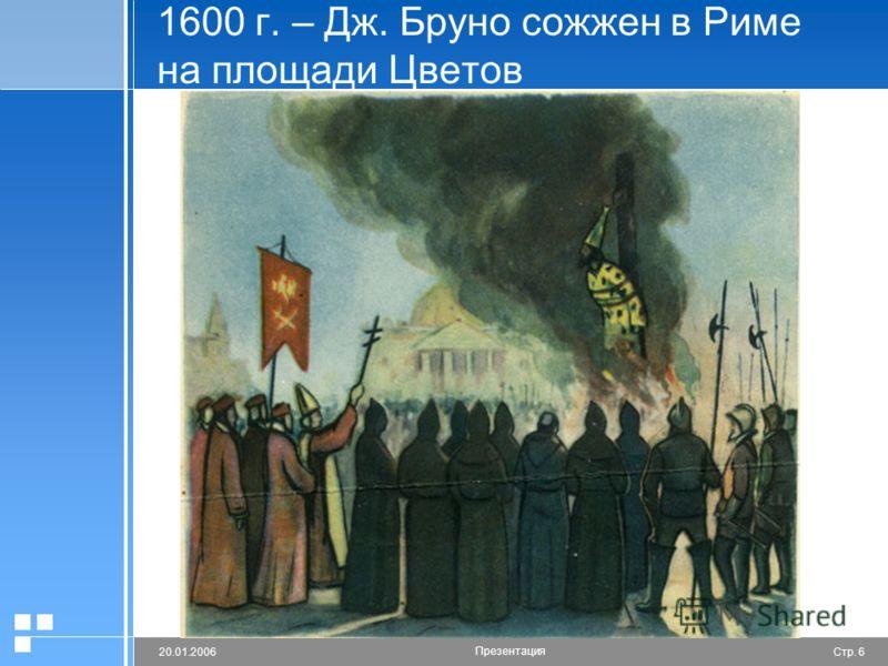 Стр. 620.01.2006 Презентация 1600 г. – Дж. Бруно сожжен в Риме на площади Цветов