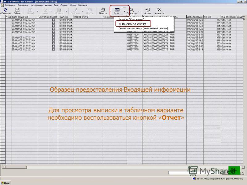 Образец предоставления Входящей информации Для просмотра выписки в табличном варианте необходимо воспользоваться кнопкой «Отчет»