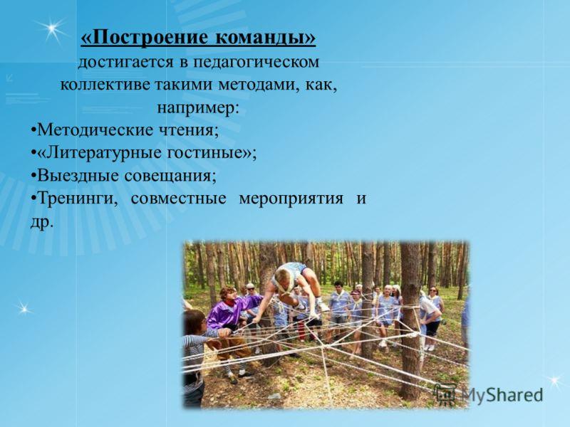 «Построение команды» достигается в педагогическом коллективе такими методами, как, например: Методические чтения; «Литературные гостиные»; Выездные совещания; Тренинги, совместные мероприятия и др.