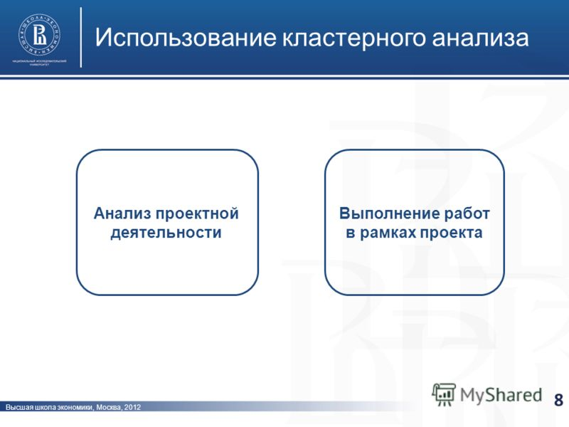 Высшая школа экономики, Москва, 2012 Использование кластерного анализа 8 Анализ проектной деятельности Выполнение работ в рамках проекта