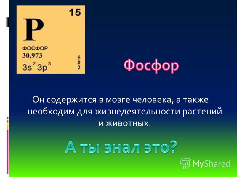 Он содержится в мозге человека, а также необходим для жизнедеятельности растений и животных.