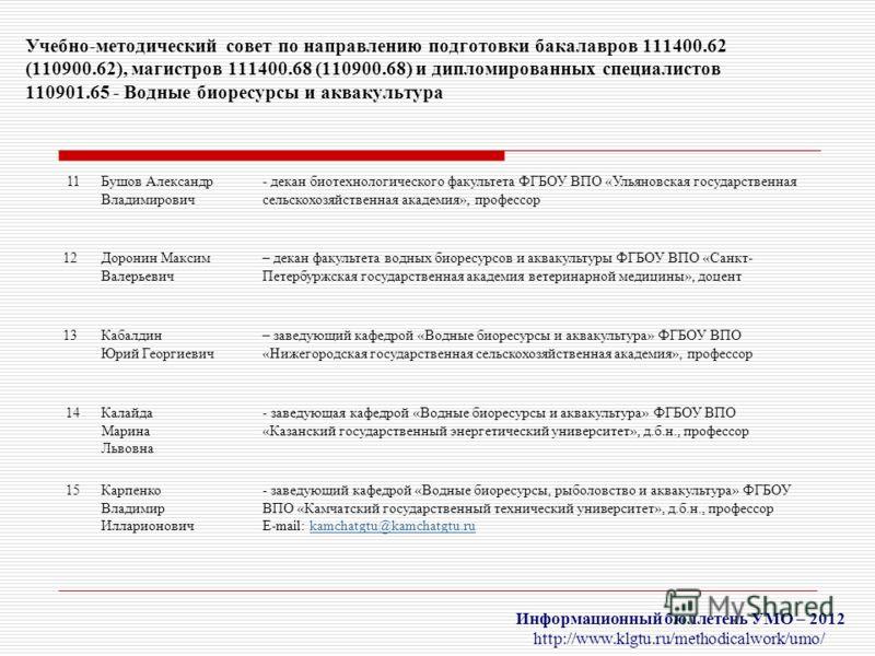 Информационный бюллетень УМО – 2012 http://www.klgtu.ru/methodicalwork/umo/ Учебно-методический совет по направлению подготовки бакалавров 111400.62 (110900.62), магистров 111400.68 (110900.68) и дипломированных специалистов 110901.65 - Водные биорес
