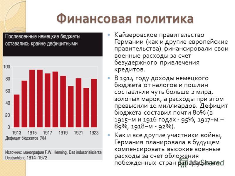 Финансовая политика Кайзеровское правительство Германии (как и другие европейские правительства) финансировали свои военные расходы за счет безудержного привлечения кредитов. В 1914 году доходы немецкого бюджета от налогов и пошлин составляли чуть бо