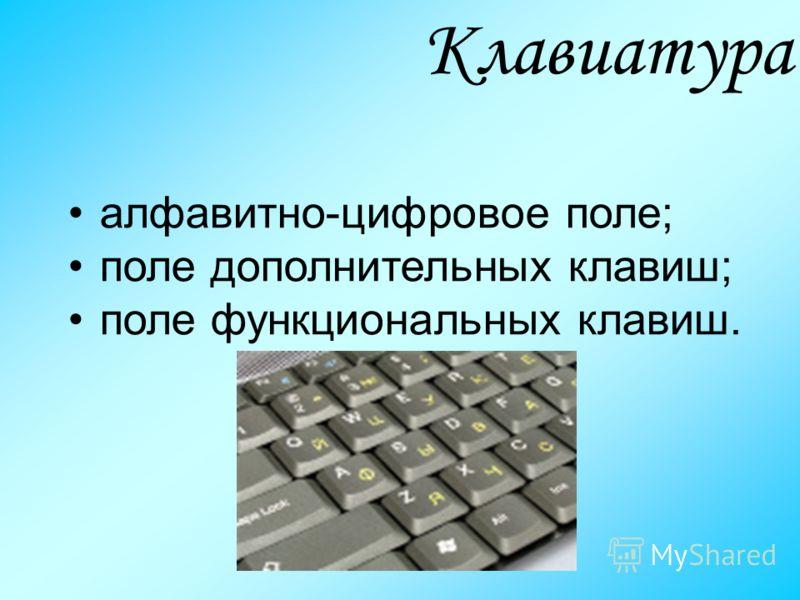 алфавитно-цифровое поле; поле дополнительных клавиш; поле функциональных клавиш. Клавиатура