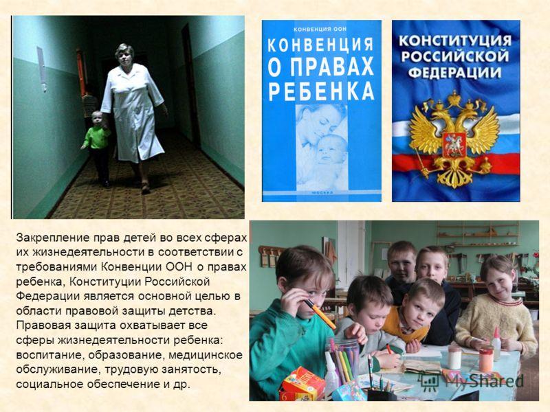 Закрепление прав детей во всех сферах их жизнедеятельности в соответствии с требованиями Конвенции ООН о правах ребенка, Конституции Российской Федерации является основной целью в области правовой защиты детства. Правовая защита охватывает все сферы