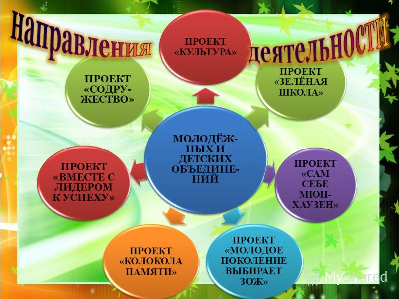 МОЛОДЁЖ- НЫХ И ДЕТСКИХ ОБЪЕДИНЕ- НИЙ ПРОЕКТ «КУЛЬТУРА» ПРОЕКТ «ЗЕЛЁНАЯ ШКОЛА» ПРОЕКТ «САМ СЕБЕ МЮН- ХАУЗЕН» ПРОЕКТ «МОЛОДОЕ ПОКОЛЕНИЕ ВЫБИРАЕТ ЗОЖ» ПРОЕКТ «КОЛОКОЛА ПАМЯТИ» ПРОЕКТ «ВМЕСТЕ С ЛИДЕРОМ К УСПЕХУ» ПРОЕКТ «СОДРУ- ЖЕСТВО»