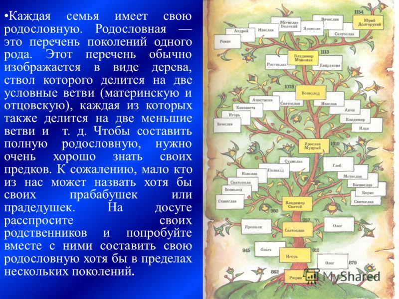 Каждая семья имеет свою родословную. Родословная это перечень поколений одного рода. Этот перечень обычно изображается в виде дерева, ствол которого делится на две условные ветви (материнскую и отцовскую), каждая из которых также делится на две меньш