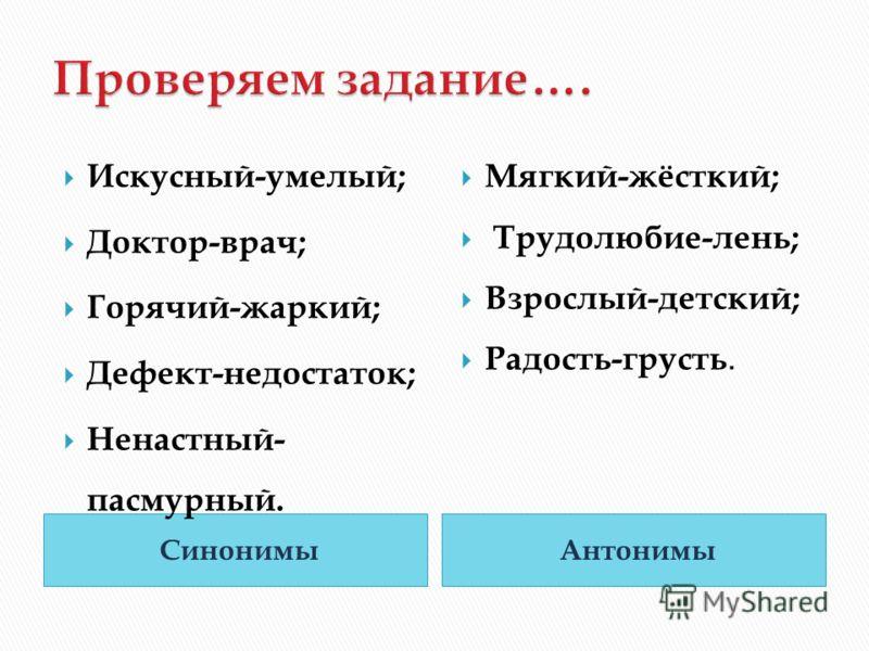 СинонимыАнтонимы Искусный-умелый; Доктор-врач; Горячий-жаркий; Дефект-недостаток; Ненастный- пасмурный. Мягкий-жёсткий; Трудолюбие-лень; Взрослый-детский; Радость-грусть.