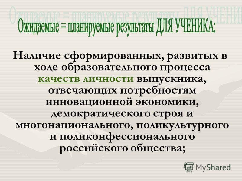 Наличие сформированных, развитых в ходе образовательного процесса качеств личности выпускника, отвечающих потребностям инновационной экономики, демократического строя и многонационального, поликультурного и поликонфессионального российского общества;