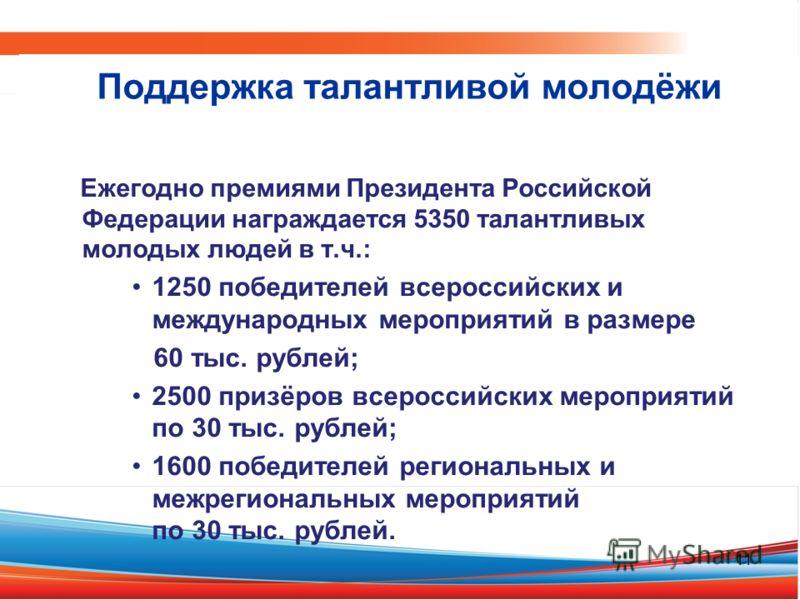 Ежегодно премиями Президента Российской Федерации награждается 5350 талантливых молодых людей в т.ч.: 1250 победителей всероссийских и международных мероприятий в размере 60 тыс. рублей; 2500 призёров всероссийских мероприятий по 30 тыс. рублей; 1600