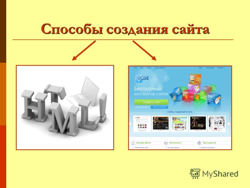 Способы создания сайта