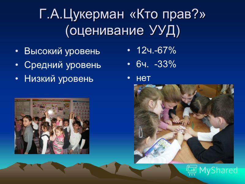 Г.А.Цукерман «Кто прав?» (оценивание УУД) Высокий уровень Средний уровень Низкий уровень 12ч.-67% 6ч. -33% нет