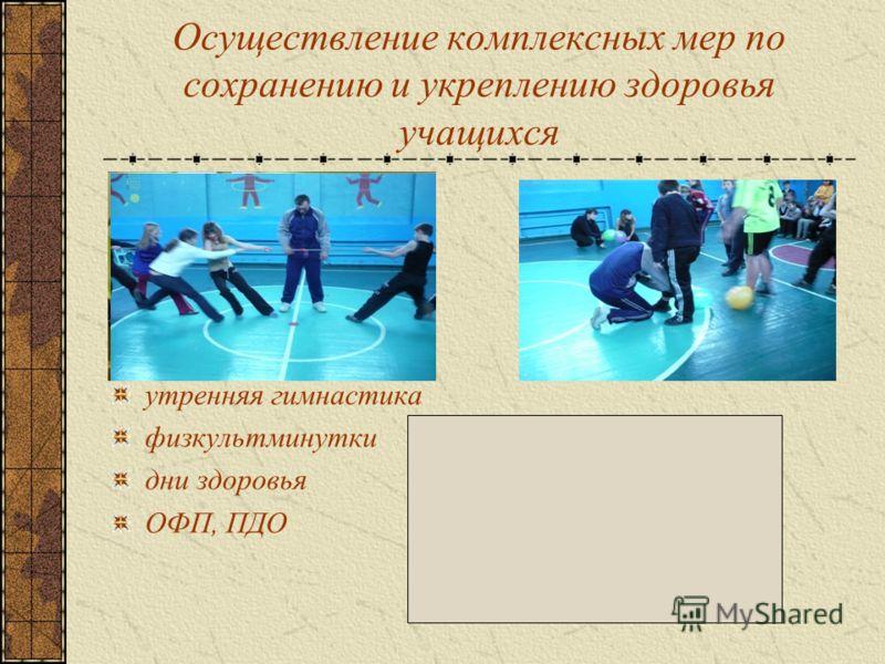 Осуществление комплексных мер по сохранению и укреплению здоровья учащихся утренняя гимнастика физкультминутки дни здоровья ОФП, ПДО