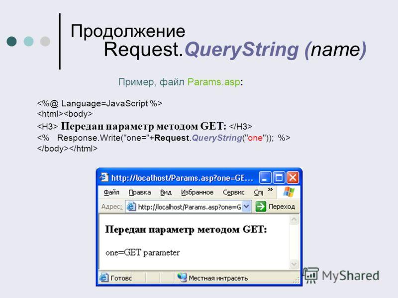 Продолжение Request.QueryString (name) Пример, файл Params.asp: Передан параметр методом GET: