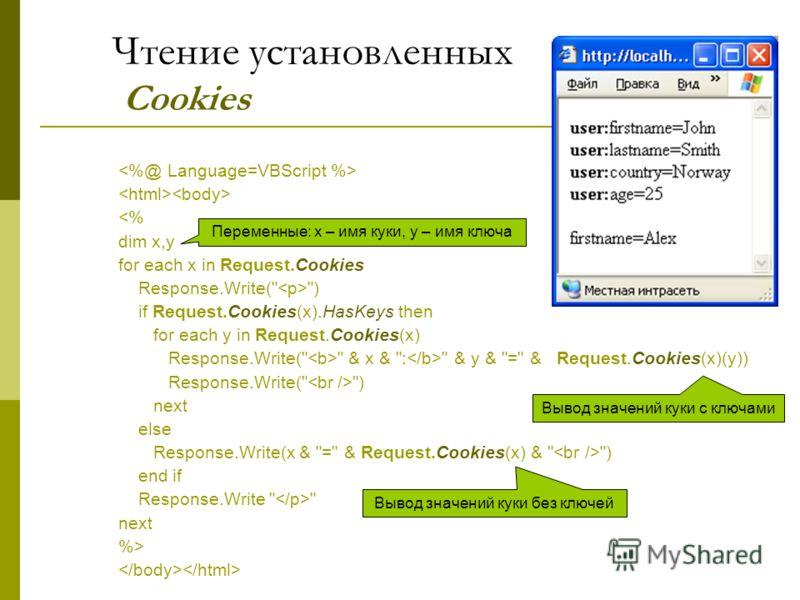 Чтение установленных Cookies  Вывод значений куки с ключами Вывод значений куки без ключей Переменные: x – имя куки, y – имя ключа