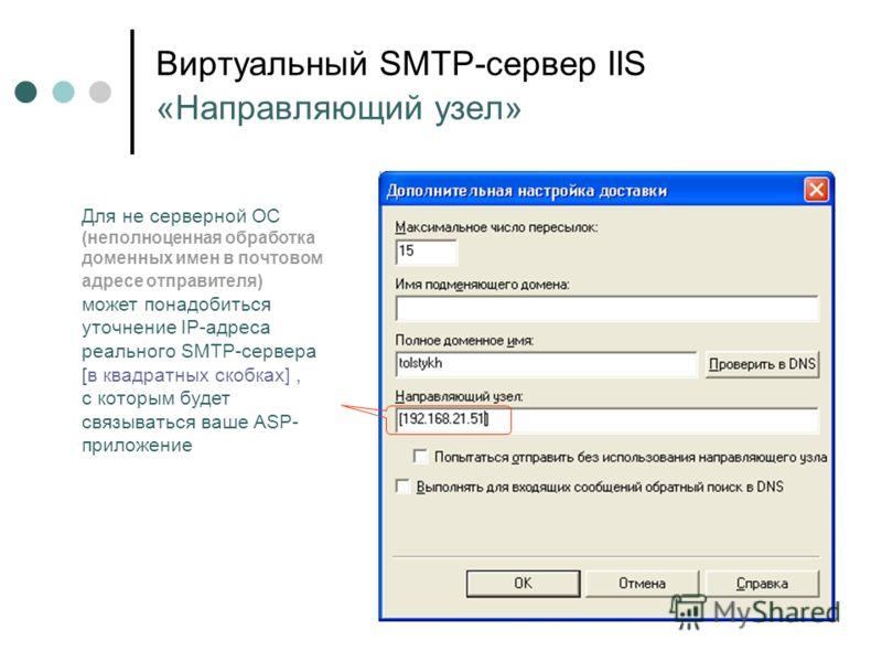 Виртуальный SMTP-сервер IIS «Направляющий узел» Для не серверной ОС (неполноценная обработка доменных имен в почтовом адресе отправителя) может понадобиться уточнение IP-адреса реального SMTP-сервера [в квадратных скобках], с которым будет связыватьс