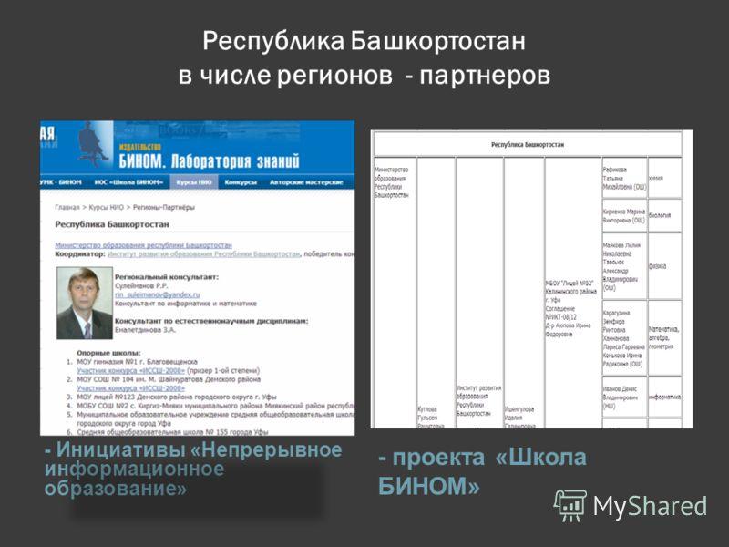 Республика Башкортостан в числе регионов - партнеров - Инициативы «Непрерывное информационное образование» - проекта «Школа БИНОМ»