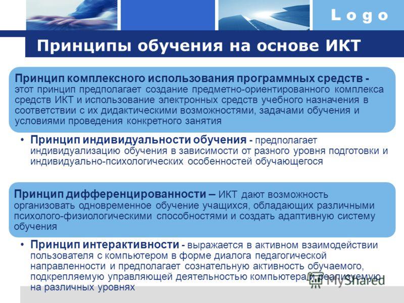 L o g o Принцип комплексного использования программных средств - этот принцип предполагает создание предметно-ориентированного комплекса средств ИКТ и использование электронных средств учебного назначения в соответствии с их дидактическими возможност