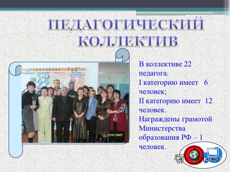 В коллективе 22 педагога. I категорию имеет 6 человек; II категорию имеет 12 человек. Награждены грамотой Министерства образования РФ – 1 человек.