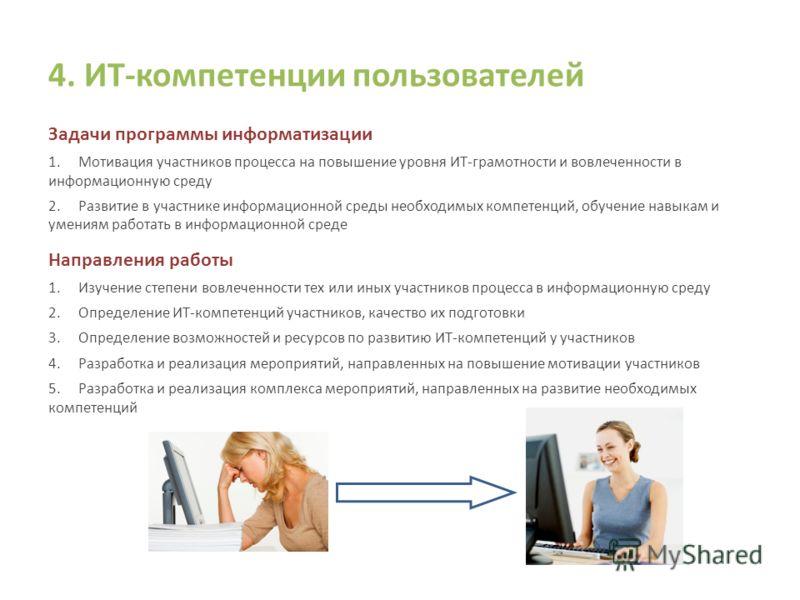 4. ИТ-компетенции пользователей Задачи программы информатизации 1.Мотивация участников процесса на повышение уровня ИТ-грамотности и вовлеченности в информационную среду 2.Развитие в участнике информационной среды необходимых компетенций, обучение на