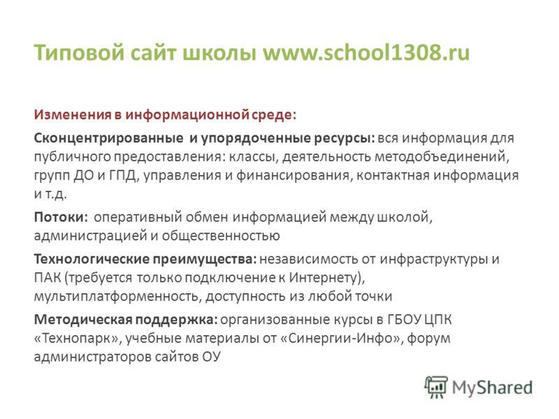 Типовой сайт школы www.school1308.ru Изменения в информационной среде: Сконцентрированные и упорядоченные ресурсы: вся информация для публичного предоставления: классы, деятельность методобъединений, групп ДО и ГПД, управления и финансирования, конта