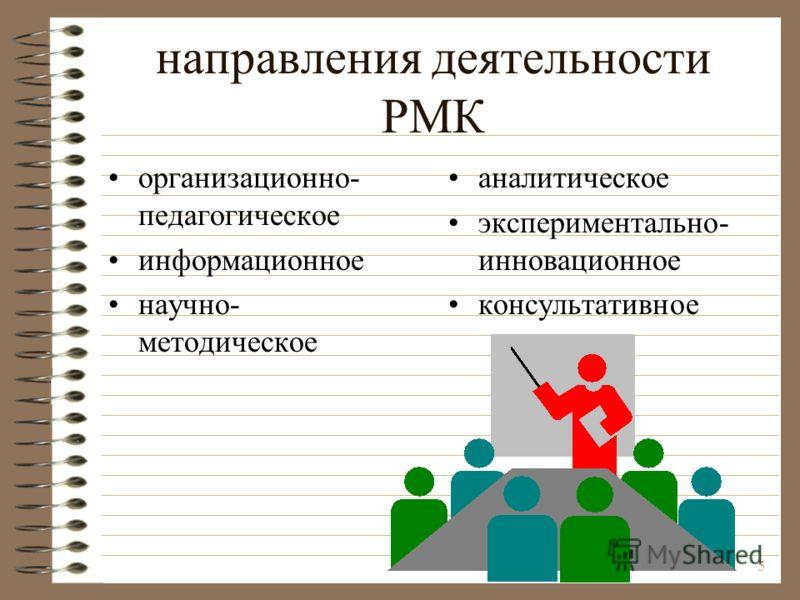 5 Н направления деятельности РМК организационно- педагогическое информационное научно- методическое аналитическое экспериментально- инновационное консультативное