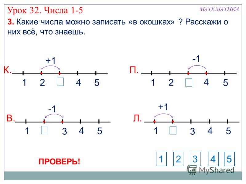 12 4 5 П. 1 3 4 5 Л. +1 124 5 К. +1 1 3 4 5 В. Урок 32. Числа 1-5 3. Какие числа можно записать «в окошках» ? Расскажи о них всё, что знаешь. МАТЕМАТИКА 1234512453 ПРОВЕРЬ!
