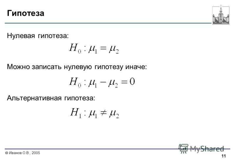 11 Иванов О.В., 2005 Гипотеза Нулевая гипотеза: Можно записать нулевую гипотезу иначе: Альтернативная гипотеза: