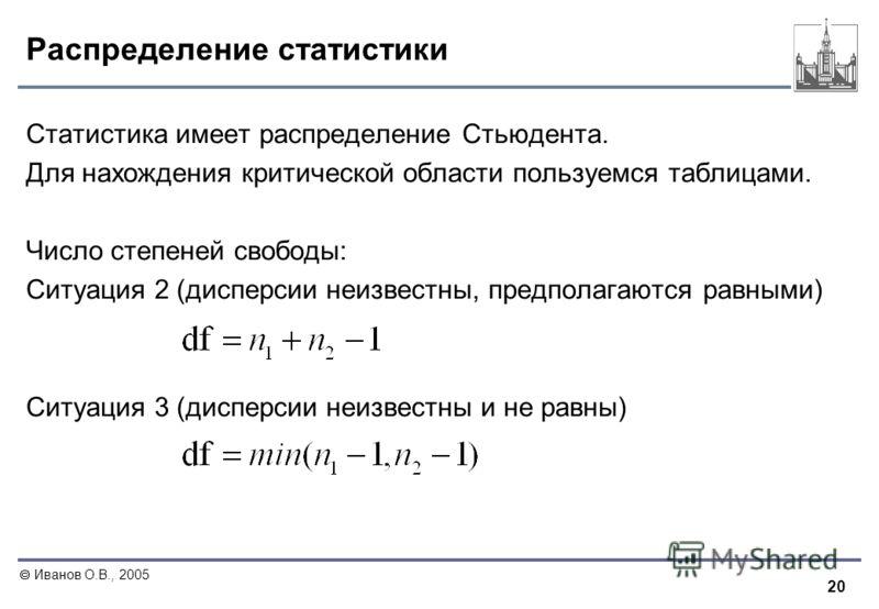 20 Иванов О.В., 2005 Распределение статистики Статистика имеет распределение Стьюдента. Для нахождения критической области пользуемся таблицами. Число степеней свободы: Ситуация 2 (дисперсии неизвестны, предполагаются равными) Ситуация 3 (дисперсии н
