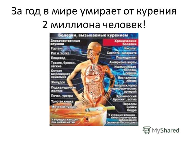За год в мире умирает от курения 2 миллиона человек!