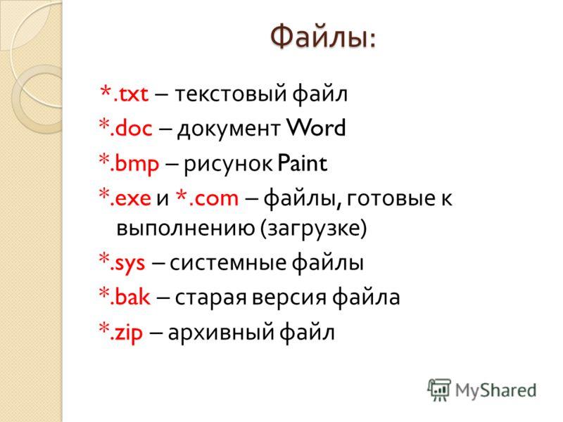 Файлы : *.txt – текстовый файл *.doc – документ Word *.bmp – рисунок Paint *.exe и *.com – файлы, готовые к выполнению ( загрузке ) *.sys – системные файлы *.bak – старая версия файла *.zip – архивный файл