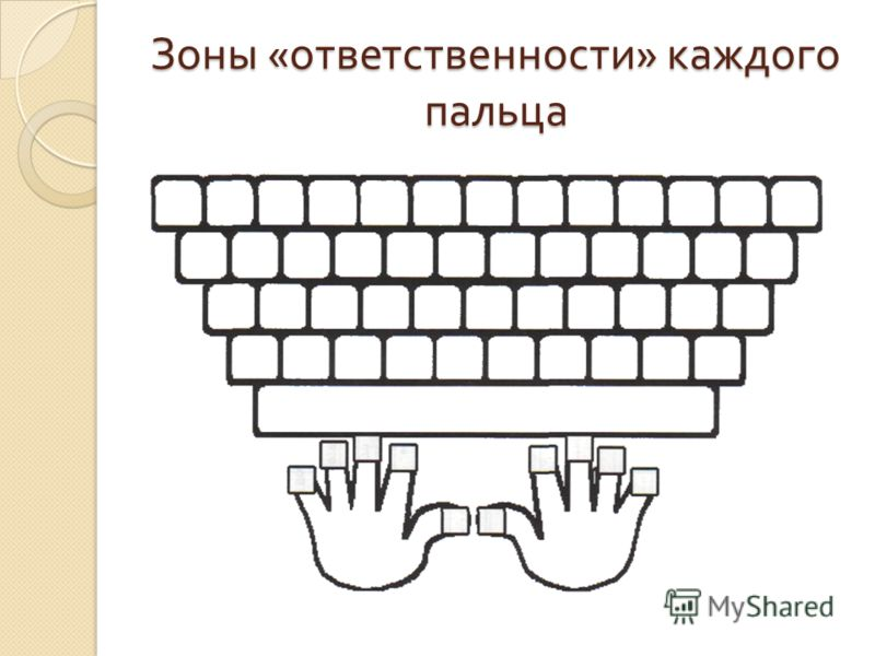 Зоны « ответственности » каждого пальца