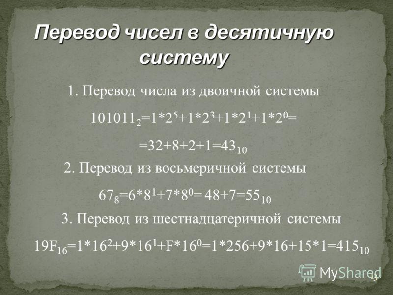 12 Перевод из 2 в 8 систему 101100001000110010 2 =? 101 100 001 000 110 010 5 4 1 0 6 2 ответ: 541062 8 = 541062 8 Перевод из 2 в 16 систему 100000000011 2 =? 1000 0000 0011 8 0 3 Ответ: 803 16 = 803 16 САМОСТОЯТЕЛЬНО 100101011111 = 95F 16 = 4537 8 О