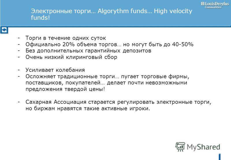 Электронные торги… Algorythm funds… High velocity funds! -Торги в течение одних суток -Официально 20% объема торгов… но могут быть до 40-50% -Без дополнительных гарантийных депозитов -Очень низкий клиринговый сбор -Усиливает колебания -Осложняет трад