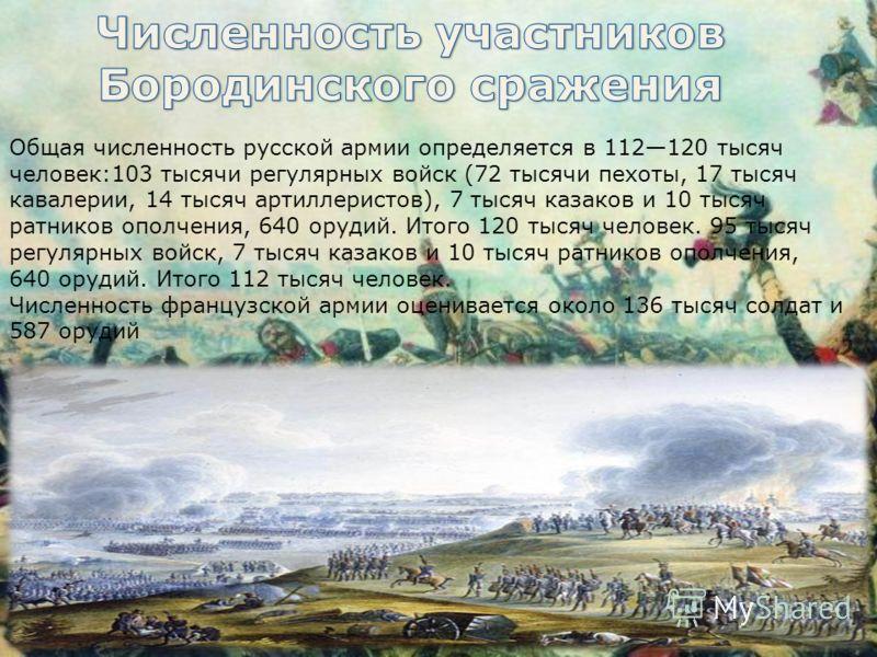 Общая численность русской армии определяется в 112120 тысяч человек:103 тысячи регулярных войск (72 тысячи пехоты, 17 тысяч кавалерии, 14 тысяч артиллеристов), 7 тысяч казаков и 10 тысяч ратников ополчения, 640 орудий. Итого 120 тысяч человек. 95 тыс