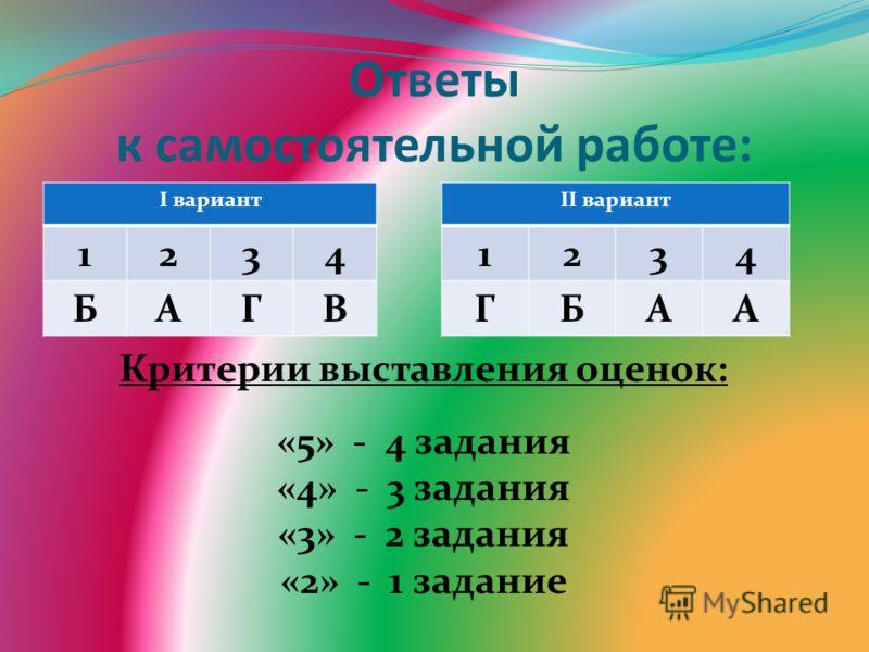 Ответы к самостоятельной работе: I вариант 1234 БАГВ II вариант 1234 ГБАА Критерии выставления оценок: «5» - 4 задания «4» - 3 задания «3» - 2 задания «2» - 1 задание