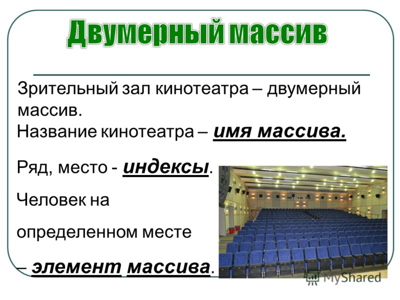 Зрительный зал кинотеатра – двумерный массив. Название кинотеатра – имя массива. Ряд, место - индексы. Человек на определенном месте – элемент массива.